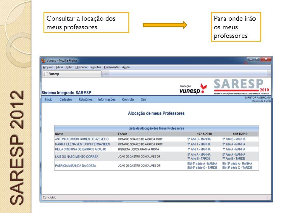 Consultar a locação dos meus professores Para onde irão os meus professores SARESP 2012