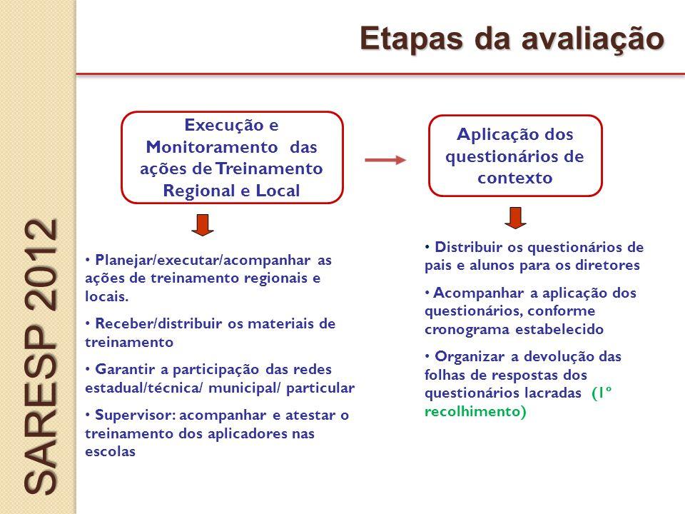 Execução e Monitoramento das ações de Treinamento Regional e Local Aplicação dos questionários de contexto Etapas da avaliação Planejar/executar/acompanhar as ações de treinamento regionais e locais.
