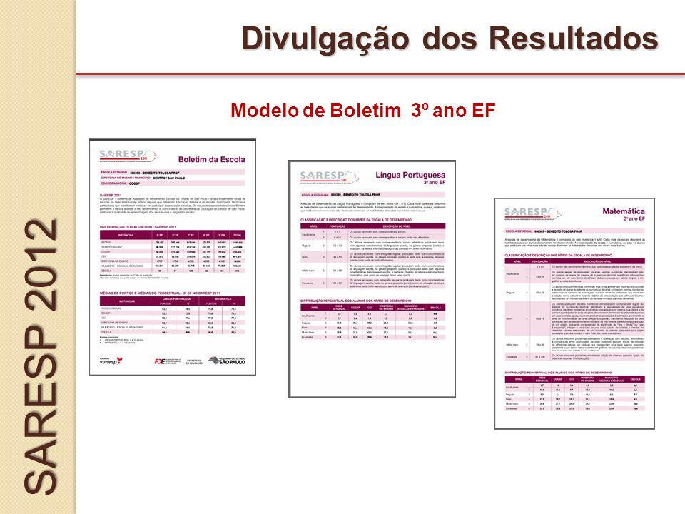 Divulgação dos Resultados Modelo de Boletim 3º ano EF SARESP 2012