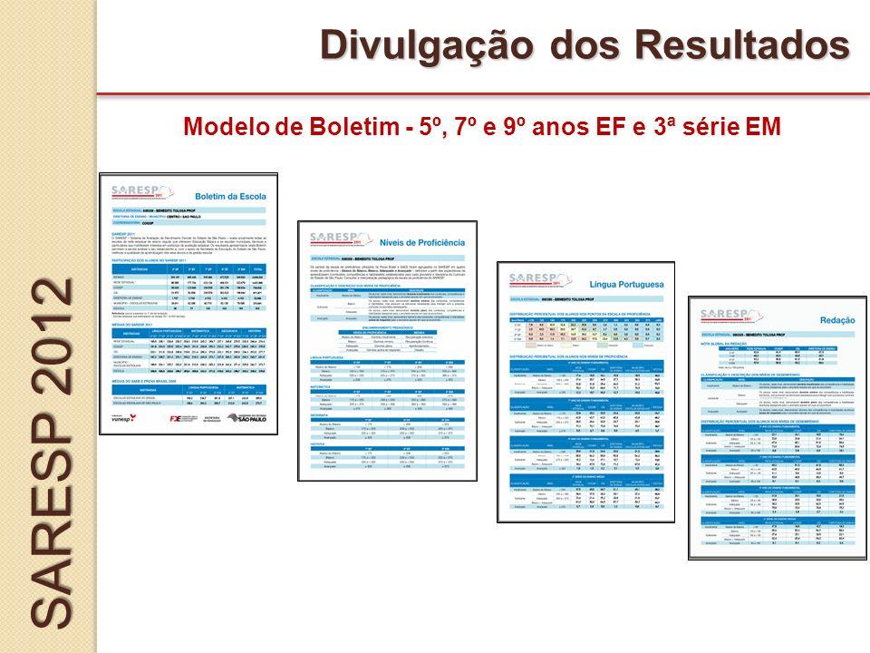 Divulgação dos Resultados Modelo de Boletim - 5º, 7º e 9º anos EF e 3ª série EM SARESP 2012