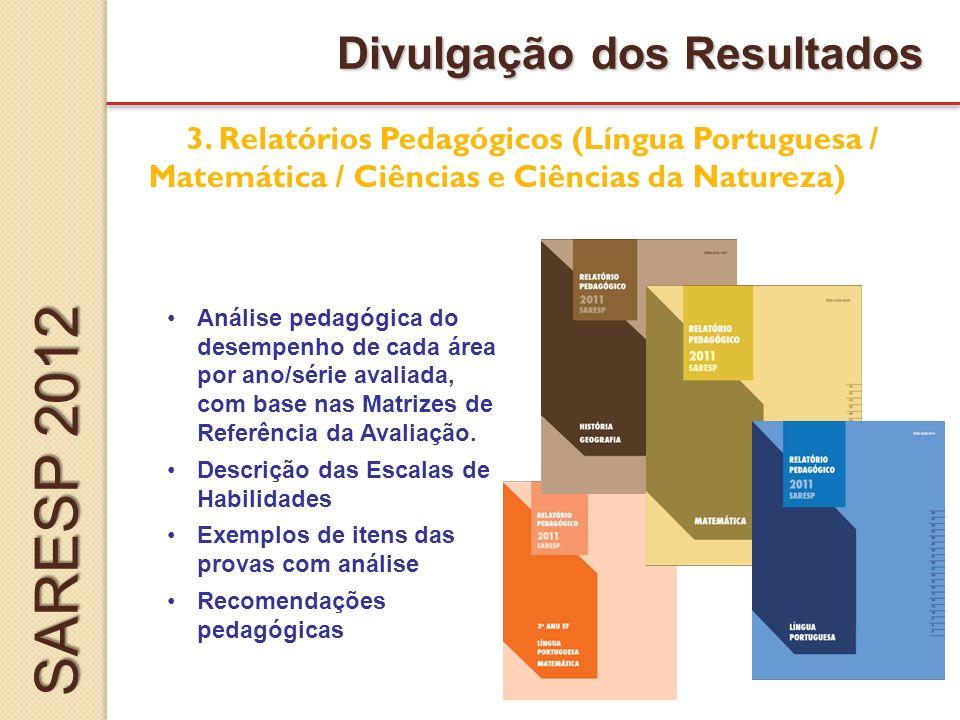 Divulgação dos Resultados Análise pedagógica do desempenho de cada área por ano/série avaliada, com base nas Matrizes de Referência da Avaliação.