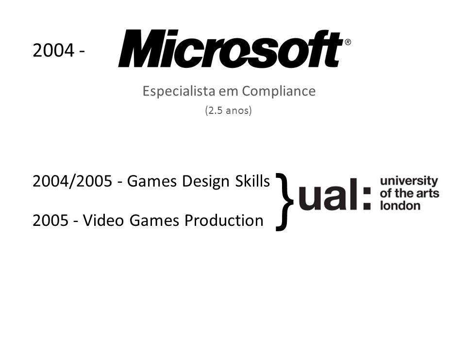Especialista em Compliance 2005 - Video Games Production (2.5 anos) 2004 - 2004/2005 - Games Design Skills }