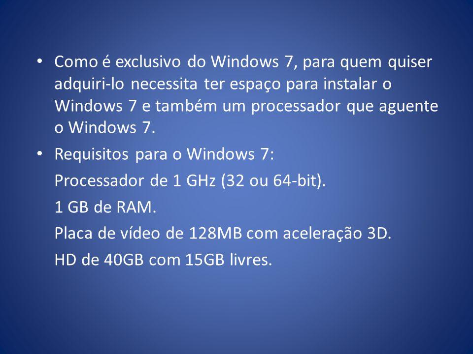 Como é exclusivo do Windows 7, para quem quiser adquiri-lo necessita ter espaço para instalar o Windows 7 e também um processador que aguente o Window