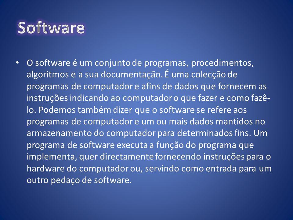 O software é um conjunto de programas, procedimentos, algoritmos e a sua documentação. É uma colecção de programas de computador e afins de dados que
