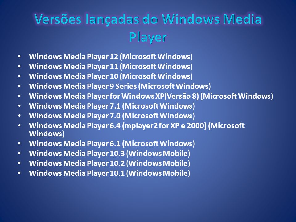 Windows Media Player 12 (Microsoft Windows) Windows Media Player 11 (Microsoft Windows) Windows Media Player 10 (Microsoft Windows) Windows Media Play