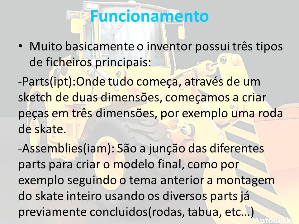 Funcionamento Muito basicamente o inventor possui três tipos de ficheiros principais: -Parts(ipt):Onde tudo começa, através de um sketch de duas dimen