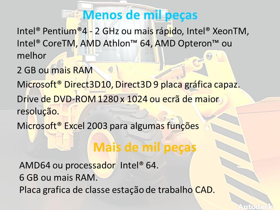 Menos de mil peças Intel® Pentium®4 - 2 GHz ou mais rápido, Intel® XeonTM, Intel® CoreTM, AMD Athlon 64, AMD Opteron ou melhor 2 GB ou mais RAM Micros