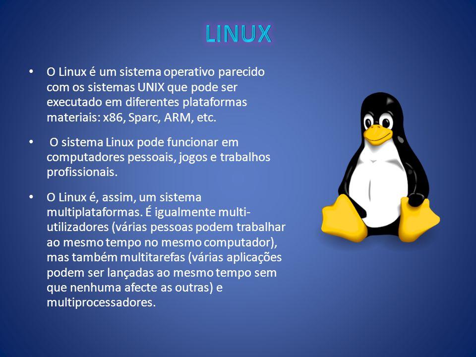 O Linux é um sistema operativo parecido com os sistemas UNIX que pode ser executado em diferentes plataformas materiais: x86, Sparc, ARM, etc. O siste