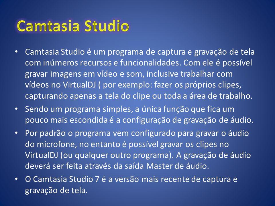 Camtasia Studio é um programa de captura e gravação de tela com inúmeros recursos e funcionalidades. Com ele é possível gravar imagens em vídeo e som,
