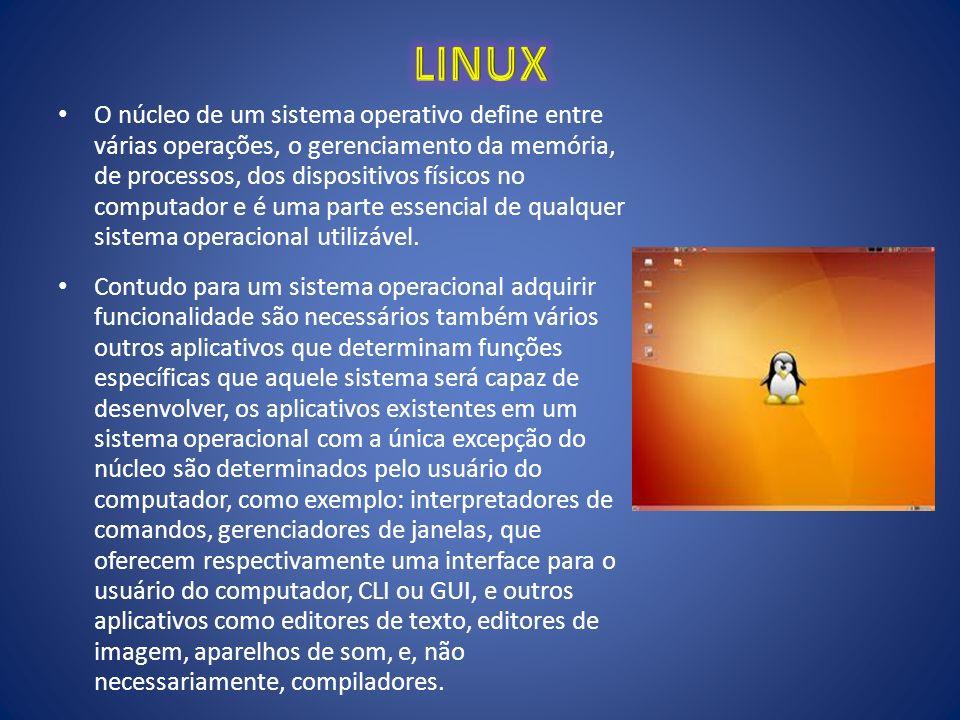 O núcleo de um sistema operativo define entre várias operações, o gerenciamento da memória, de processos, dos dispositivos físicos no computador e é u