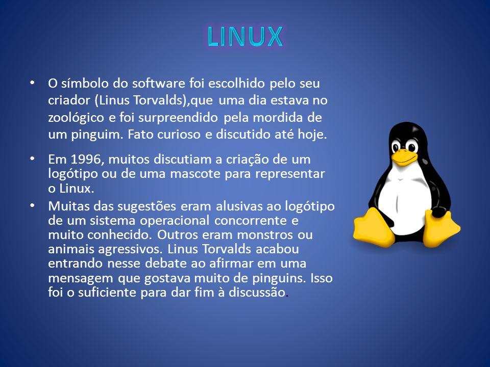 O símbolo do software foi escolhido pelo seu criador (Linus Torvalds),que uma dia estava no zoológico e foi surpreendido pela mordida de um pinguim. F