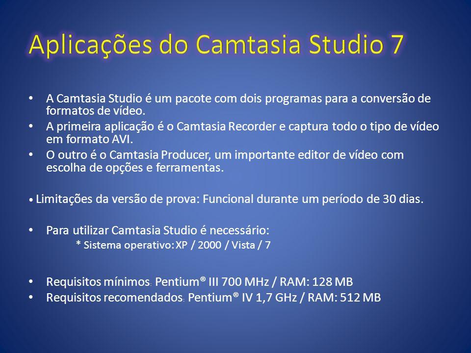 A Camtasia Studio é um pacote com dois programas para a conversão de formatos de vídeo. A primeira aplicação é o Camtasia Recorder e captura todo o ti