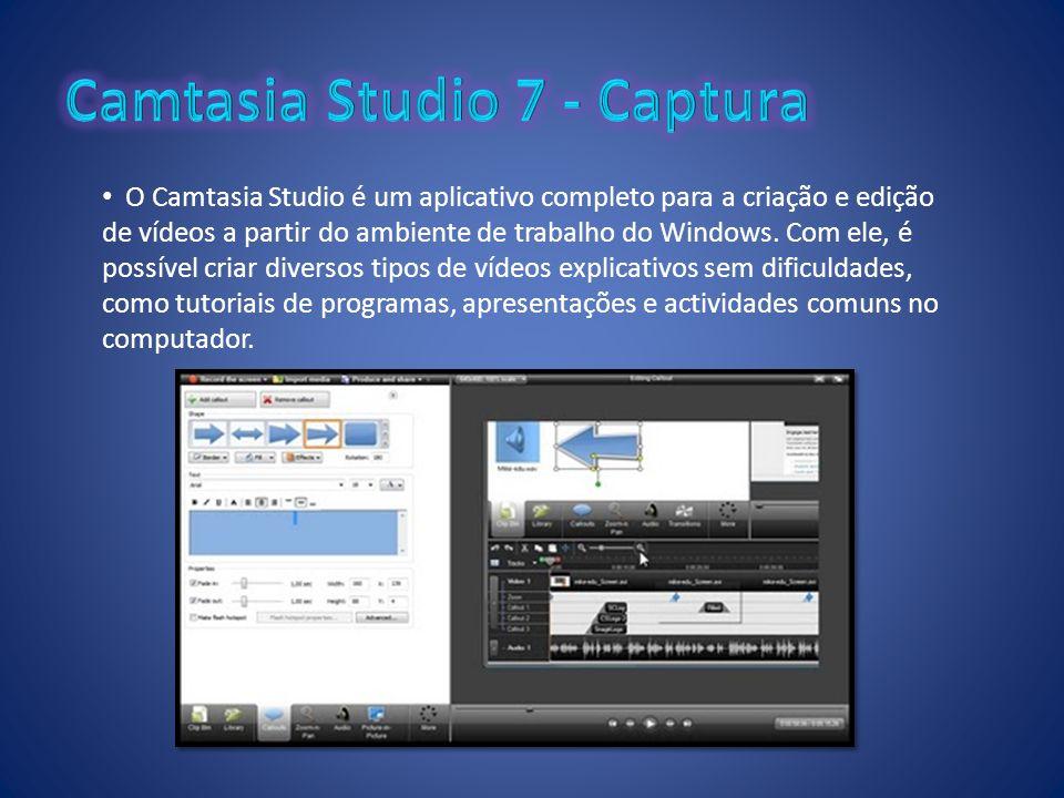 O Camtasia Studio é um aplicativo completo para a criação e edição de vídeos a partir do ambiente de trabalho do Windows. Com ele, é possível criar di