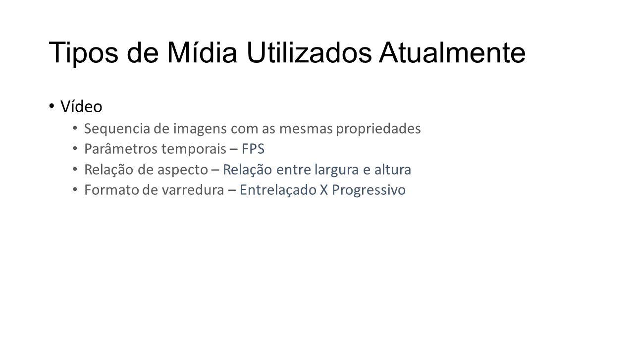 Tipos de Mídia Utilizados Atualmente Vídeo Sequencia de imagens com as mesmas propriedades Parâmetros temporais – FPS Relação de aspecto – Relação ent