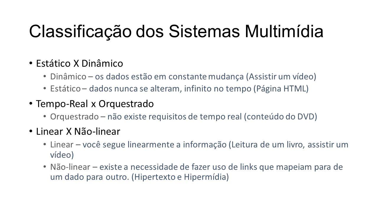 Classificação dos Sistemas Multimídia Estático X Dinâmico Dinâmico – os dados estão em constante mudança (Assistir um vídeo) Estático – dados nunca se