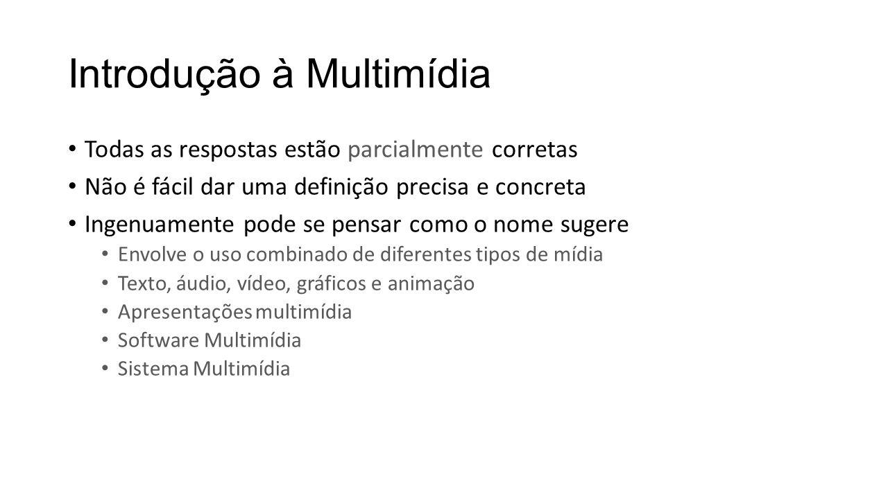 Introdução à Multimídia Todas as respostas estão parcialmente corretas Não é fácil dar uma definição precisa e concreta Ingenuamente pode se pensar co