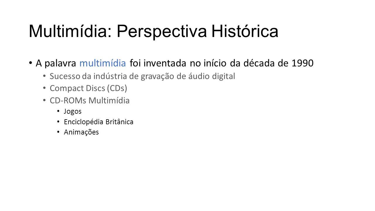 Multimídia: Perspectiva Histórica A palavra multimídia foi inventada no início da década de 1990 Sucesso da indústria de gravação de áudio digital Com