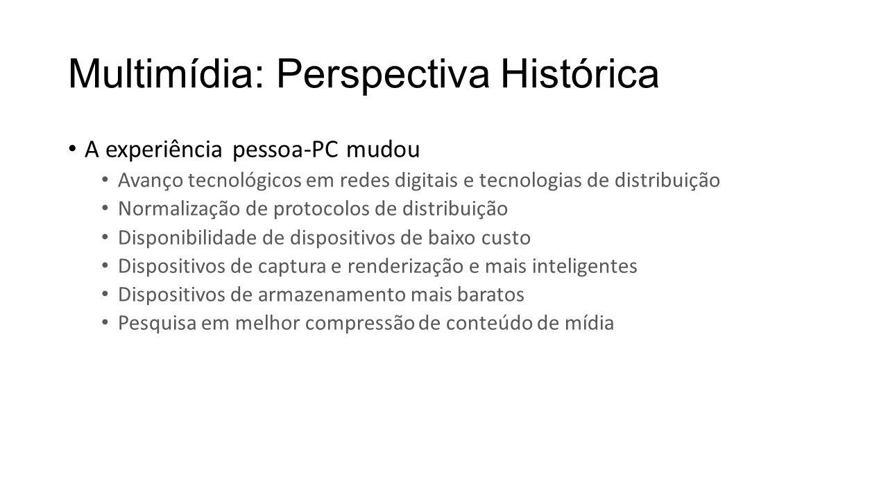 Multimídia: Perspectiva Histórica A experiência pessoa-PC mudou Avanço tecnológicos em redes digitais e tecnologias de distribuição Normalização de pr