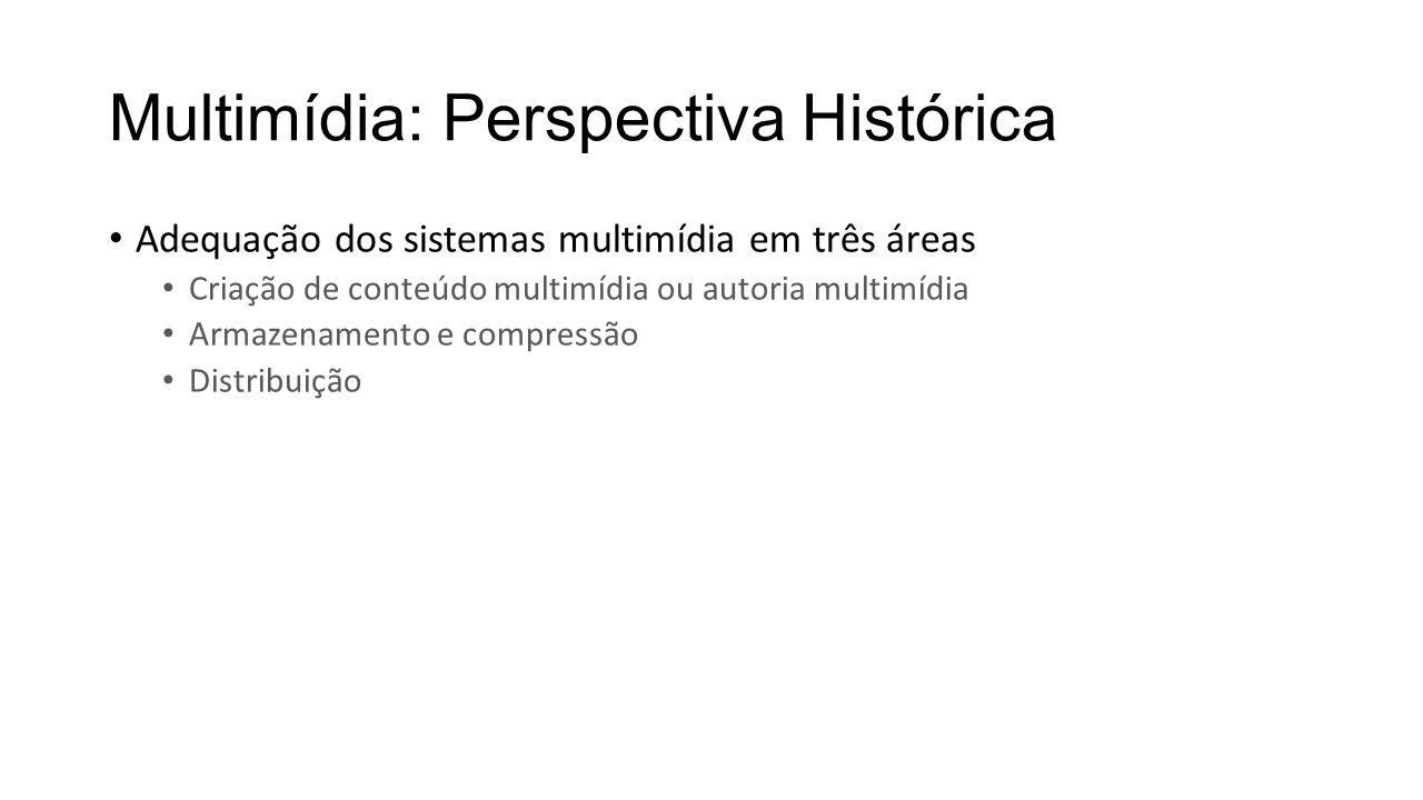 Multimídia: Perspectiva Histórica Adequação dos sistemas multimídia em três áreas Criação de conteúdo multimídia ou autoria multimídia Armazenamento e