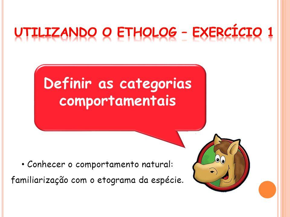 Definir as categorias comportamentais Conhecer o comportamento natural: familiarização com o etograma da espécie.