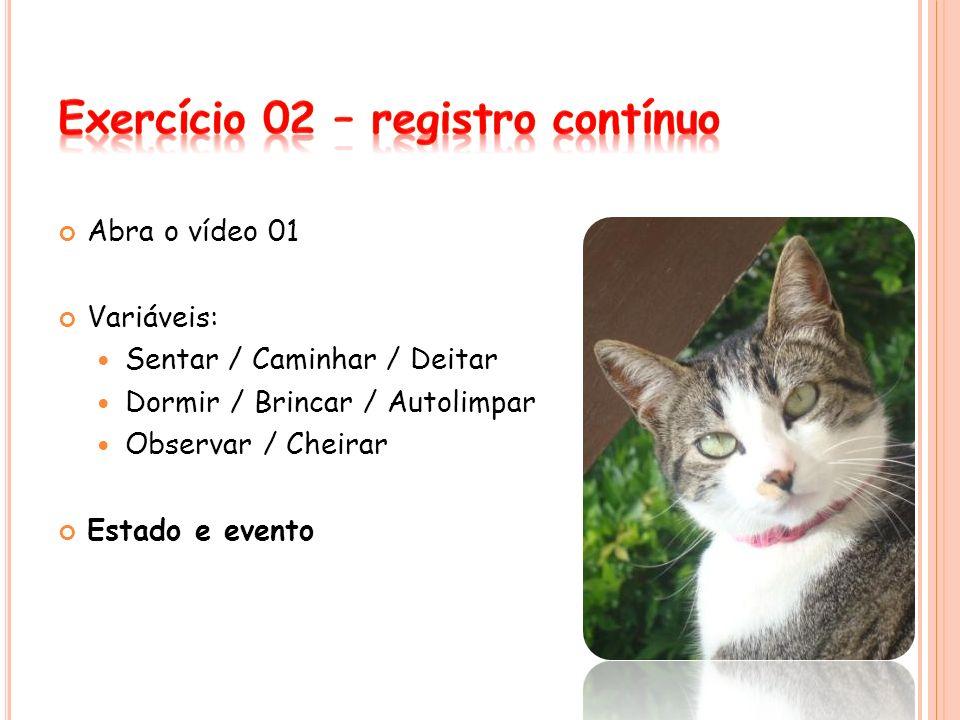 Abra o vídeo 01 Variáveis: Sentar / Caminhar / Deitar Dormir / Brincar / Autolimpar Observar / Cheirar Estado e evento