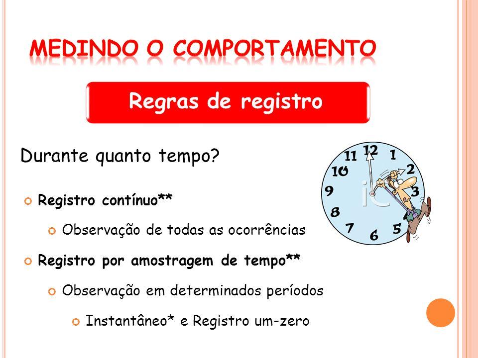 Regras de registro Durante quanto tempo? Registro contínuo** Observação de todas as ocorrências Registro por amostragem de tempo** Observação em deter