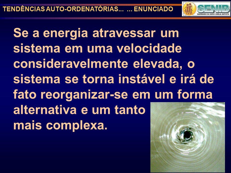 TENDÊNCIAS AUTO-ORDENATÓRIAS...... ENUNCIADO Se a energia atravessar um sistema em uma velocidade consideravelmente elevada, o sistema se torna instáv