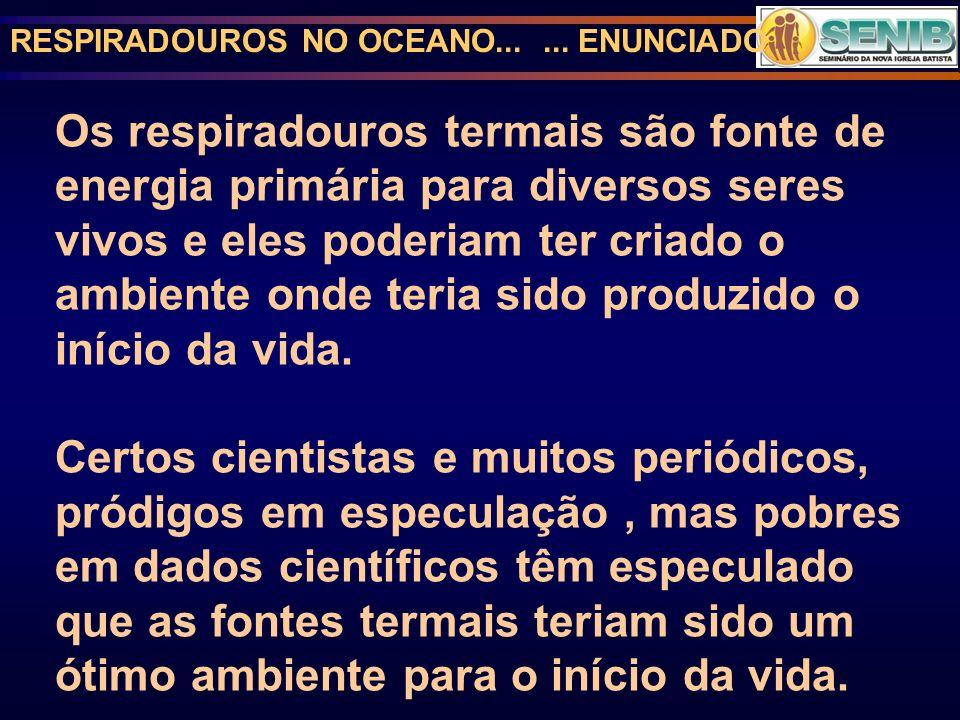 RESPIRADOUROS NO OCEANO...... ENUNCIADO Os respiradouros termais são fonte de energia primária para diversos seres vivos e eles poderiam ter criado o