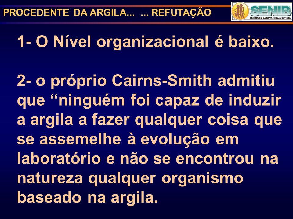 PROCEDENTE DA ARGILA...... REFUTAÇÃO 1- O Nível organizacional é baixo. 2- o próprio Cairns-Smith admitiu que ninguém foi capaz de induzir a argila a