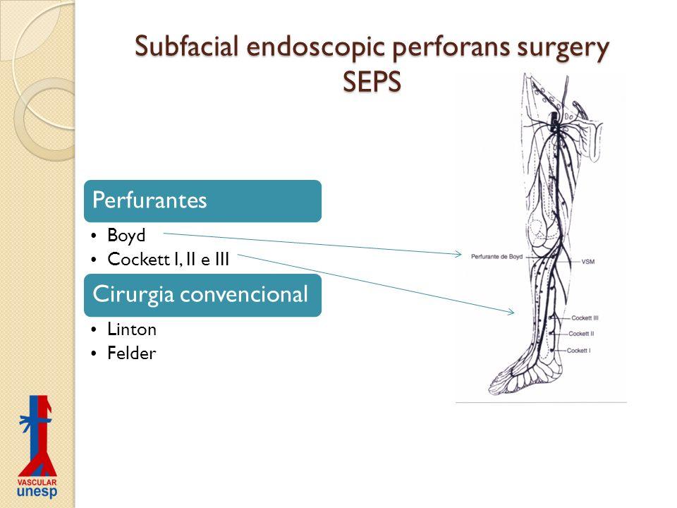 Subfacial endoscopic perforans surgery SEPS Perfurantes Boyd Cockett I, II e III Cirurgia convencional Linton Felder