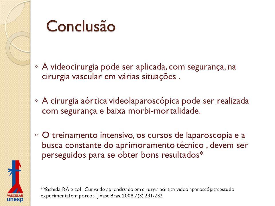 Conclusão A videocirurgia pode ser aplicada, com segurança, na cirurgia vascular em várias situações. A cirurgia aórtica videolaparoscópica pode ser r