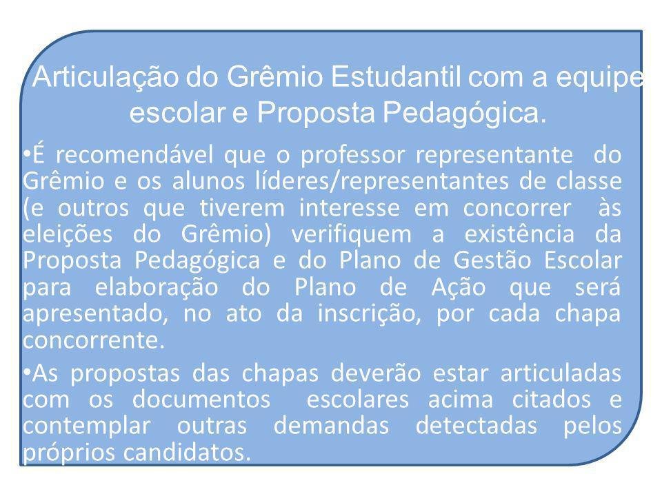 Articulação do Grêmio Estudantil com a equipe escolar e Proposta Pedagógica. É recomendável que o professor representante do Grêmio e os alunos lídere