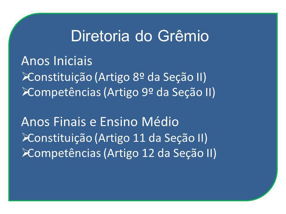 Anos Iniciais Constituição (Artigo 8º da Seção II) Competências (Artigo 9º da Seção II) Anos Finais e Ensino Médio Constituição (Artigo 11 da Seção II