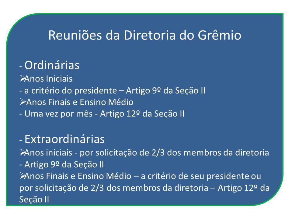 Reuniões da Diretoria do Grêmio - Ordinárias Anos Iniciais - a critério do presidente – Artigo 9º da Seção II Anos Finais e Ensino Médio - Uma vez por