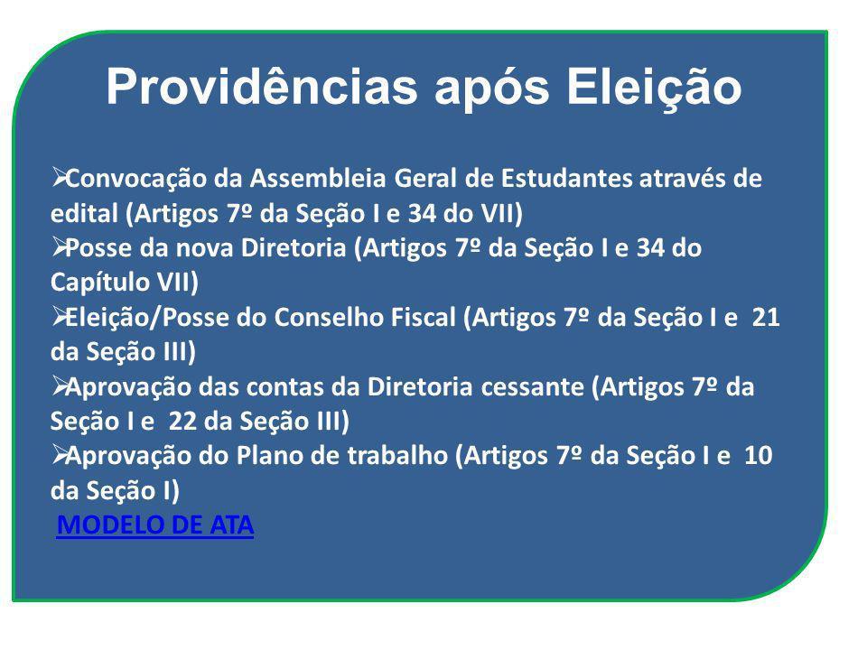 Convocação da Assembleia Geral de Estudantes através de edital (Artigos 7º da Seção I e 34 do VII) Posse da nova Diretoria (Artigos 7º da Seção I e 34
