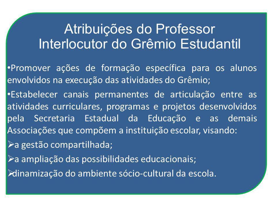 Atribuições do Professor Interlocutor do Grêmio Estudantil Promover ações de formação específica para os alunos envolvidos na execução das atividades