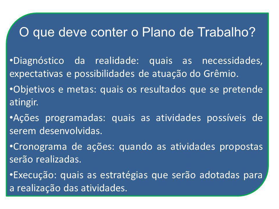 O que deve conter o Plano de Trabalho? Diagnóstico da realidade: quais as necessidades, expectativas e possibilidades de atuação do Grêmio. Objetivos