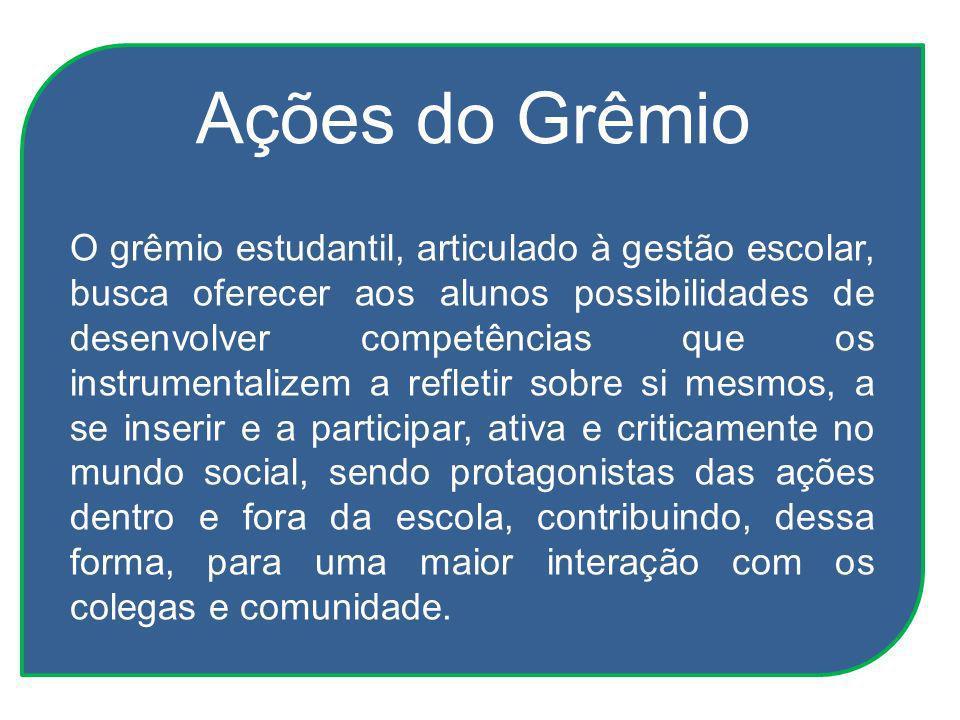 Ações do Grêmio O grêmio estudantil, articulado à gestão escolar, busca oferecer aos alunos possibilidades de desenvolver competências que os instrume