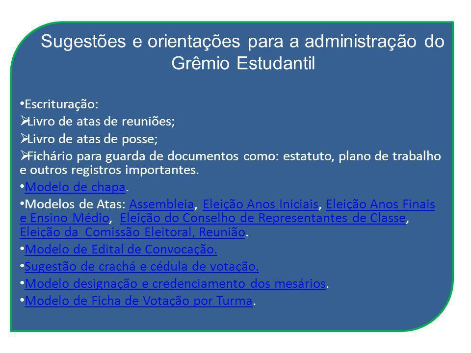 Sugestões e orientações para a administração do Grêmio Estudantil Escrituração: Livro de atas de reuniões; Livro de atas de posse; Fichário para guard