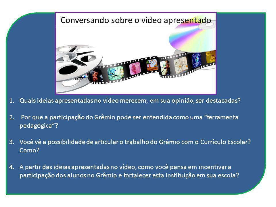 Conversando sobre o vídeo apresentado 1.Quais ideias apresentadas no vídeo merecem, em sua opinião, ser destacadas? 2. Por que a participação do Grêmi