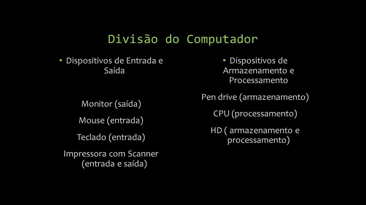 Dispositivos de Armazenamento e Processamento Pen drive (armazenamento) CPU (processamento) HD ( armazenamento e processamento) Dispositivos de Entrada e Saída Monitor (saída) Mouse (entrada) Teclado (entrada) Impressora com Scanner (entrada e saída) Divisão do Computador