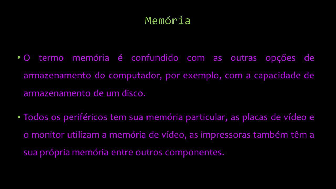 Memória O termo memória é confundido com as outras opções de armazenamento do computador, por exemplo, com a capacidade de armazenamento de um disco.