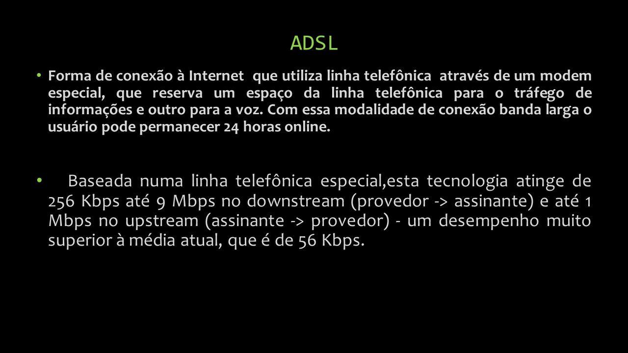 ADSL Forma de conexão à Internet que utiliza linha telefônica através de um modem especial, que reserva um espaço da linha telefônica para o tráfego de informações e outro para a voz.