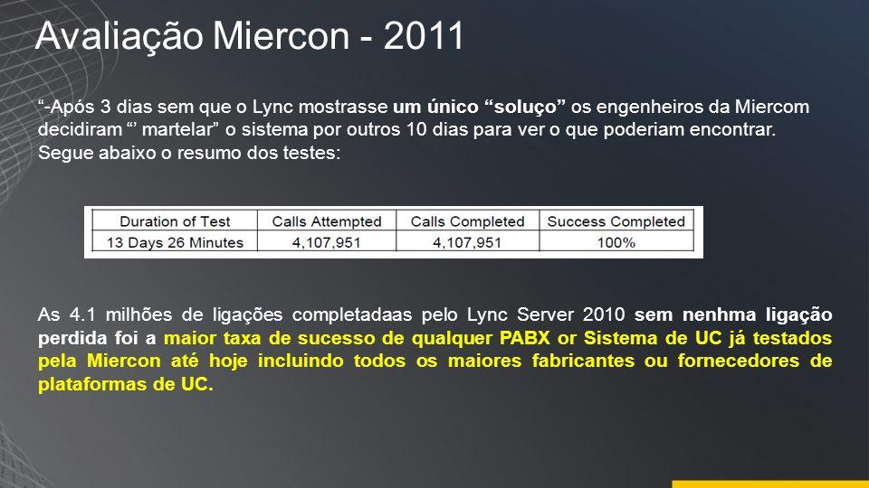 Avaliação Miercon - 2011 -Após 3 dias sem que o Lync mostrasse um único soluço os engenheiros da Miercom decidiram martelar o sistema por outros 10 di
