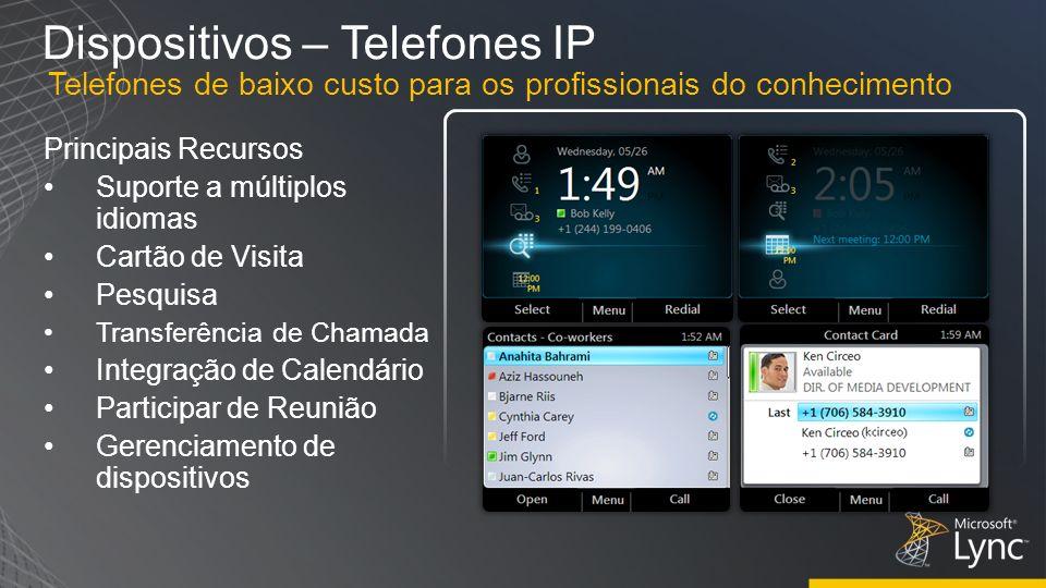 Dispositivos – Telefones IP Principais Recursos Suporte a múltiplos idiomas Cartão de Visita Pesquisa Transferência de Chamada Integração de Calendári