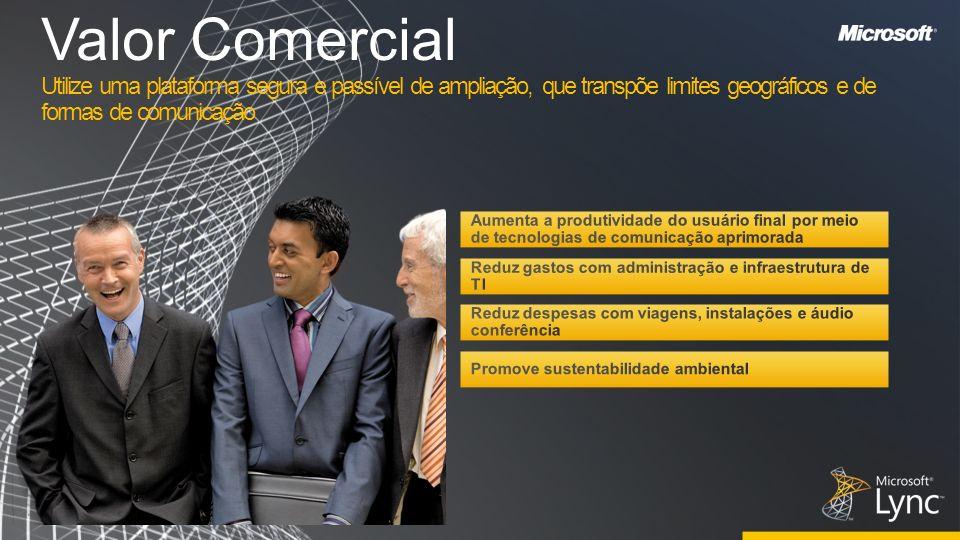 Valor Comercial Utilize uma plataforma segura e passível de ampliação, que transpõe limites geográficos e de formas de comunicação