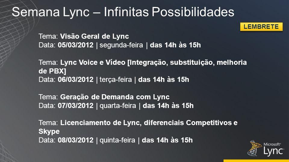 Semana Lync – Infinitas Possibilidades Tema: Visão Geral de Lync Data: 05/03/2012 | segunda-feira | das 14h às 15h Tema: Lync Voice e Vídeo [Integraçã