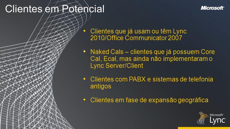 Clientes em Potencial Clientes que já usam ou têm Lync 2010/Office Communicator 2007 Naked Cals – clientes que já possuem Core Cal, Ecal, mas ainda nã