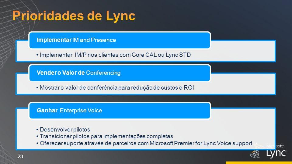 23 Implementar IM/P nos clientes com Core CAL ou Lync STD Implementar IM and Presence Mostrar o valor de conferência para redução de custos e ROI Vend