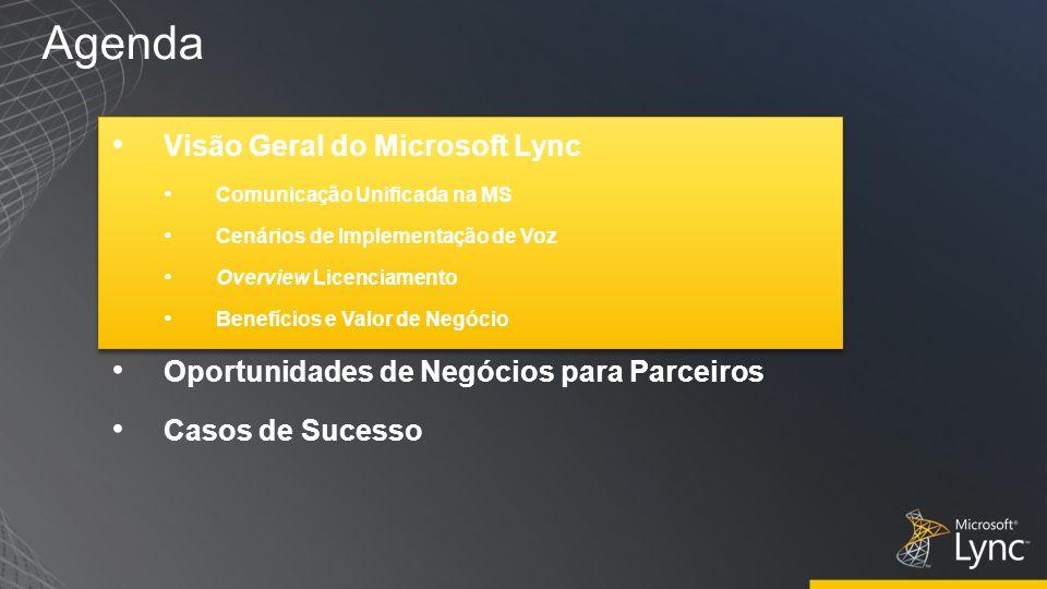 Agenda Visão Geral do Microsoft Lync Comunicação Unificada na MS Cenários de Implementação de Voz Overview Licenciamento Benefícios e Valor de Negócio